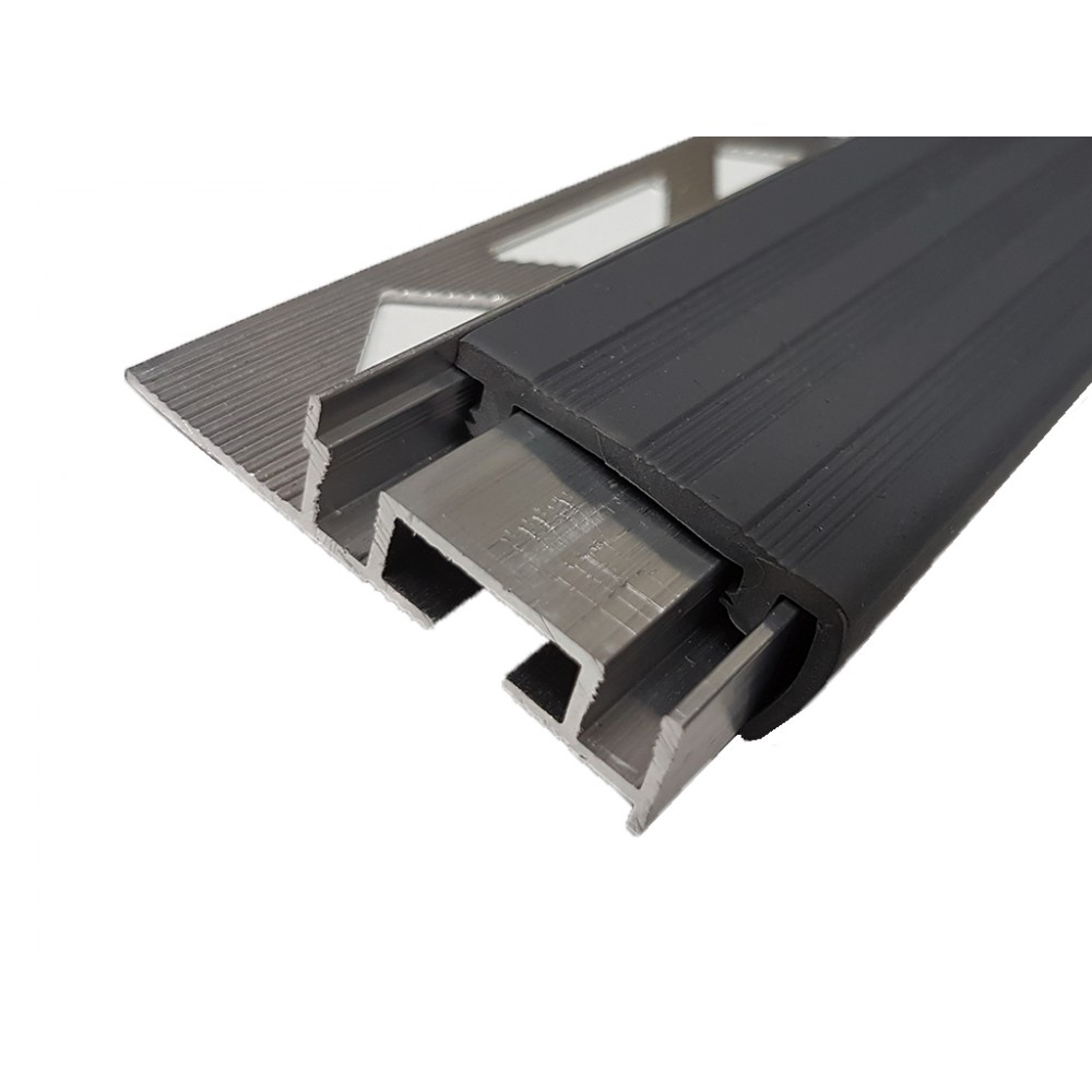Противоскользящий алюминиевый профиль закладной ALPBM с одним закладным элементом