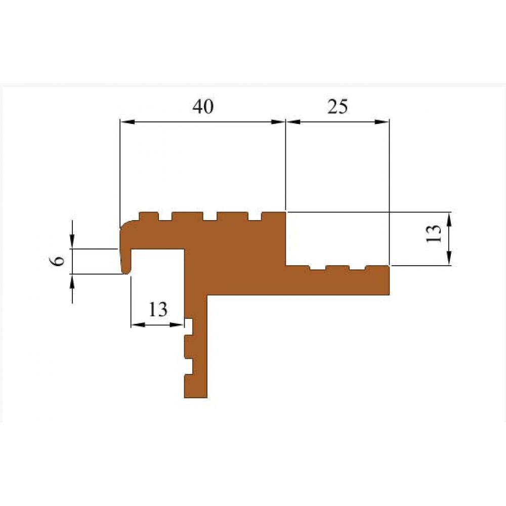 Противоскользящий профиль-порог для лестниц Безопасный шаг БШ-40
