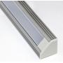 Накладной угловой алюминиевый профиль для светодиодной ленты SS-440 с экраном