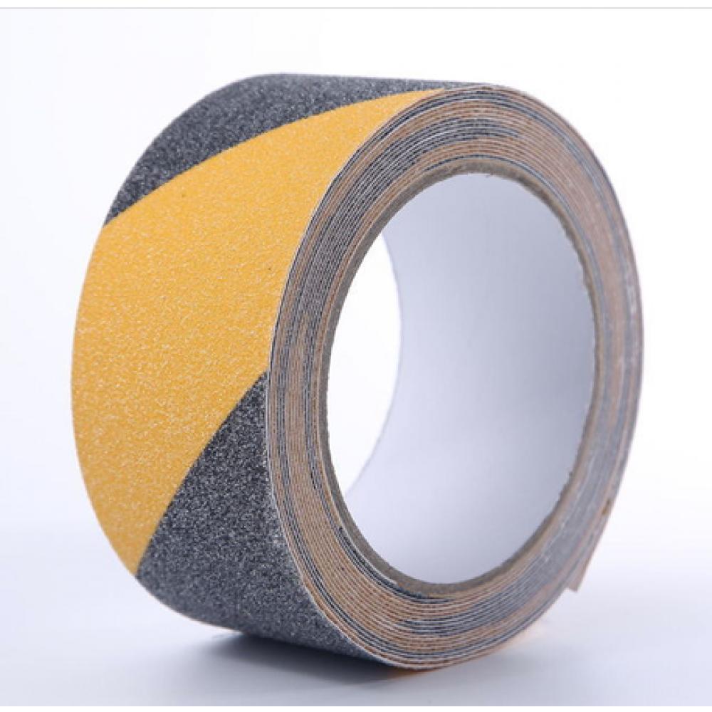 Самоклеящаяся противоскользящая предупреждающая сигнальная лента Anti Slip Tape крупной зернистости (60 grit). Цвет: черно-желтый