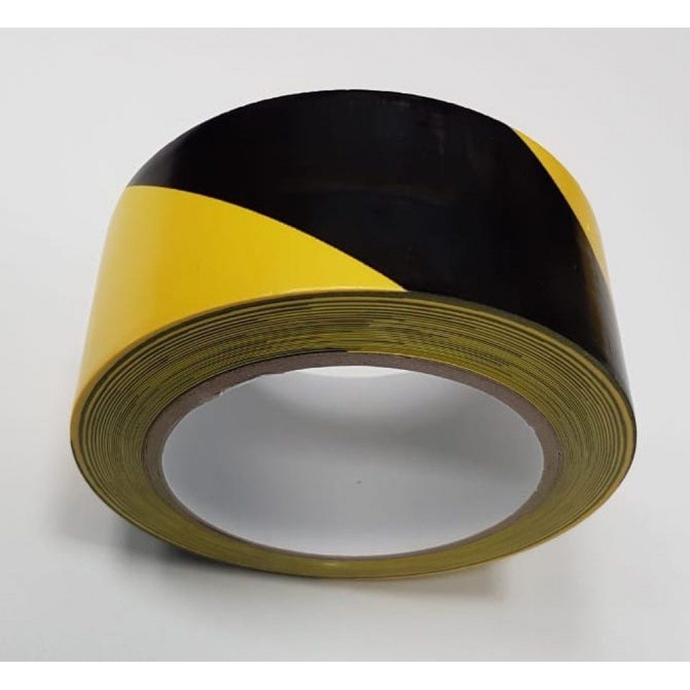 Лента самоклеящаяся сигнальная для разметки, желто-черный цвет, 50мм х 33м, 150 мкр