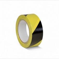 ПВХ лента для разметки и маркировки, желто-черный цвет, 50мм х 22м, 150 мкр