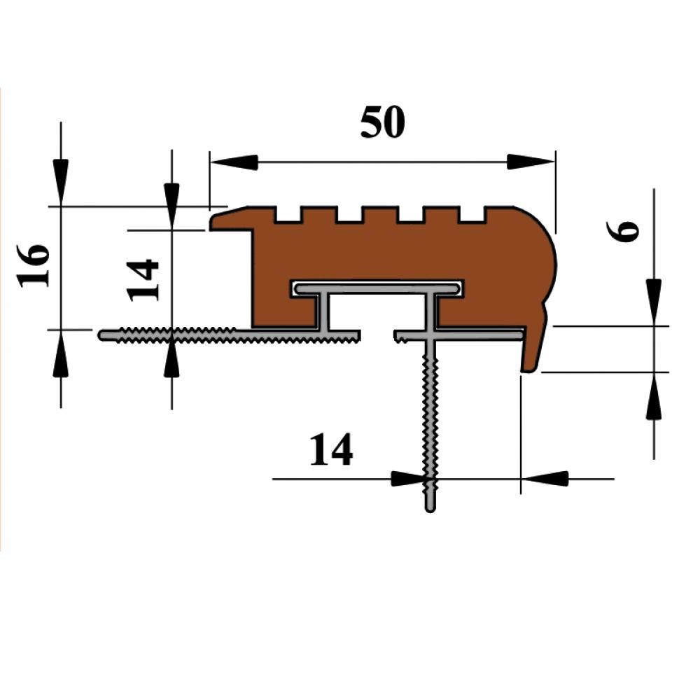 Износостойкий закладной профиль для ступеней  Confident step 50мм